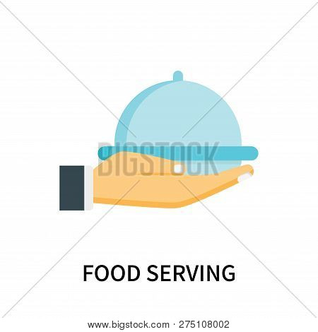 Food serving icon isolated on white background. Food serving icon simple sign. Food serving icon trendy and modern symbol for graphic and web design. Food serving icon flat vector illustration for logo, web, app, UI. stock photo