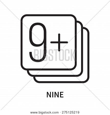 Nine icon isolated on white background. Nine icon simple sign. Nine icon trendy and modern symbol for graphic and web design. Nine icon flat vector illustration for logo, web, app, UI. stock photo
