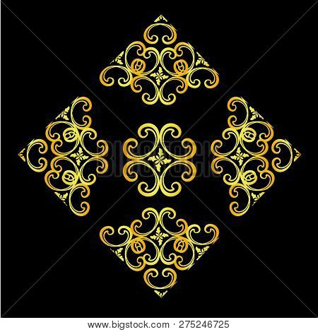 gold vintage ornament with black background, baroque ornament, scroll ornament, engraving border ornament, floral ornament, retro pattern ornament, antique ornament, style acanthus ornament, foliage swirl ornament, decorative ornament, filigree ornament,  stock photo