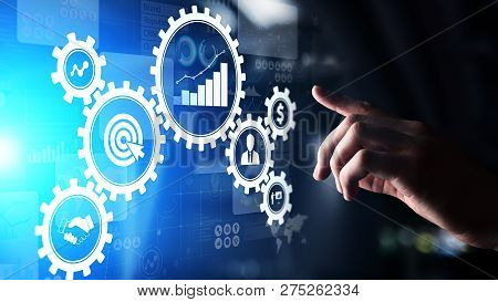 Business Process Management Automation Workflow, Document Validation, Connected Gear Cogs With Icons