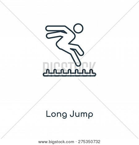 long jump icon in trendy design style. long jump icon isolated on white background. long jump vector icon simple and modern flat symbol for web site, mobile, logo, app, UI. long jump icon vector illustration, EPS10. stock photo
