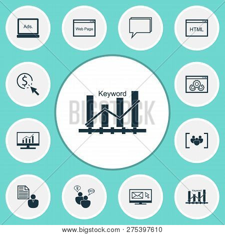 Advertising icons set with web page, comprehensive analytics, display advertising and other digital media elements. Isolated vector illustration advertising icons. stock photo