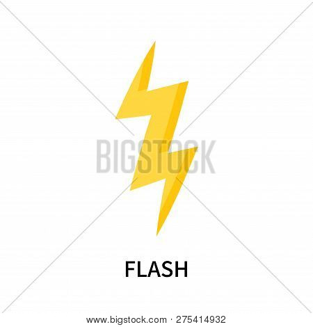 Flash icon isolated on white background. Flash icon simple sign. Flash icon trendy and modern symbol for graphic and web design. Flash icon flat vector illustration for logo, web, app, UI. stock photo