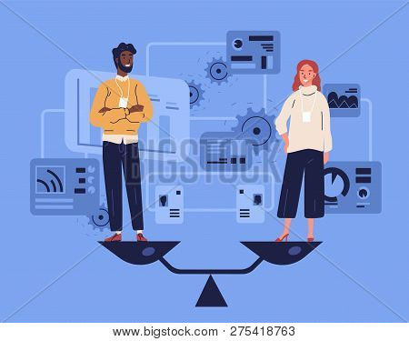 Smiling man and woman standing on weighing dishes of balance scale. Concept of gender equality at work or in business, equal rights for both sexes. Colorful vector illustration in flat cartoon style. stock photo