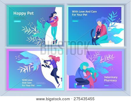 Set of Landing Page Templates with Vector Symbol. Happy people with their pets, a cat loves its owners, care and love, a pet shop and a veterinary pharmacy. Animal Day and adoption. Vector illustration stock photo