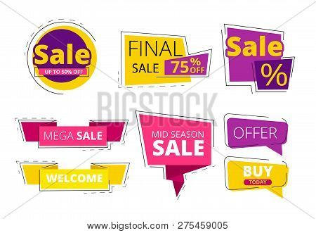 Flat promo banners. Big sale advertizing offers on colored ribbons vector template. Discount and sale, offer promo special illustration stock photo