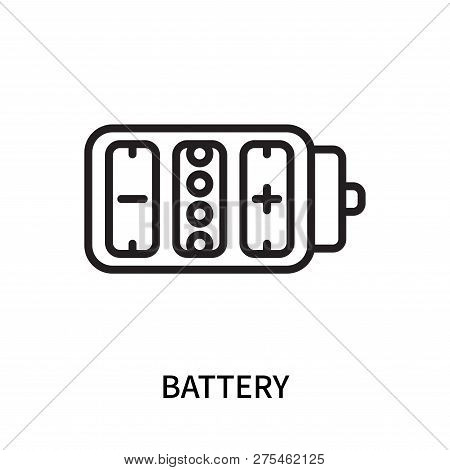 Battery icon isolated on white background. Battery icon simple sign. Battery icon trendy and modern symbol for graphic and web design. Battery icon flat vector illustration for logo, web, app, UI. stock photo