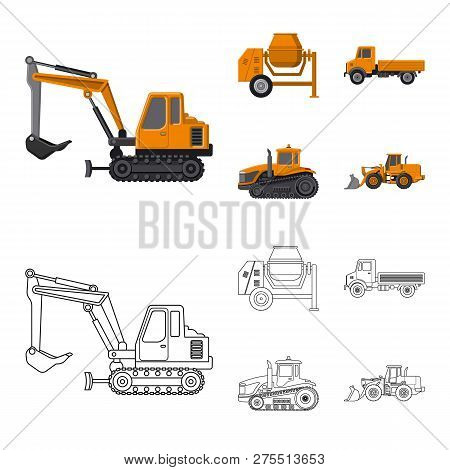 Vector design of build and construction logo. Set of build and machinery stock symbol for web. stock photo