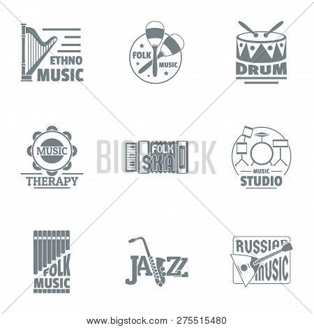 Musical taste logo set. Simple set of 9 musical taste logo for web isolated on white background stock photo