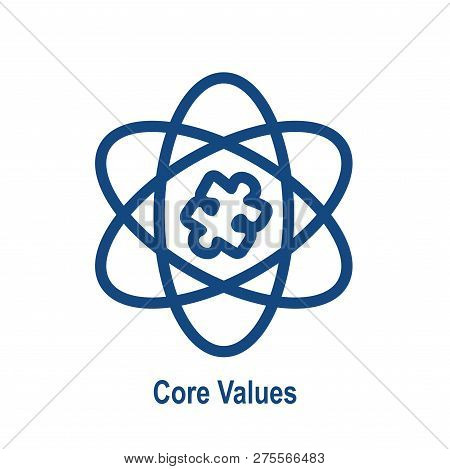 Core Values Outline or Line Icon Conveying Integrity & Purpose stock photo