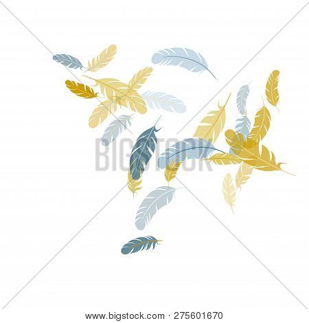 Cool silver gold feathers vector background. Plumage glamour fashion shower decor. Smooth plumelet tribal ornate graphics. Flying feather elements airy vector design. stock photo