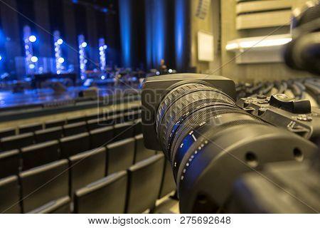 Professional digital video camera. accessories for 4k video cameras. stock photo