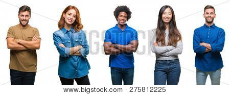 Composition of african american, hispanic and chinese group of people over isolated white background