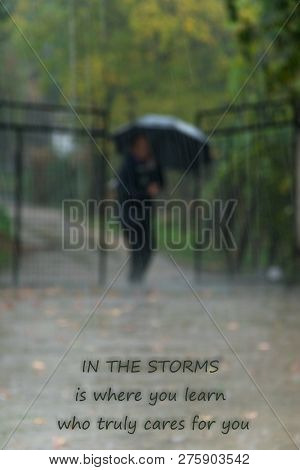 Heavy rainy day, an (unrecognizable) person coming home. Text -