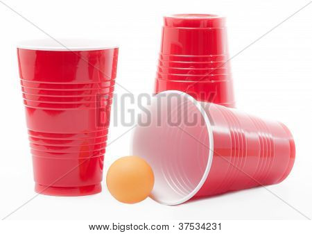 Ping pong balls and drinking cups are commonly used at college parties. stock photo
