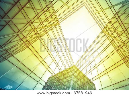 Panoramic and perspective wide angle view to steel light blue sky texture of glass high rise tall bu