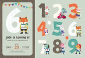 Birthday Anniversary Numbers with Cute Animals and Birthday Party Invitation Card Template