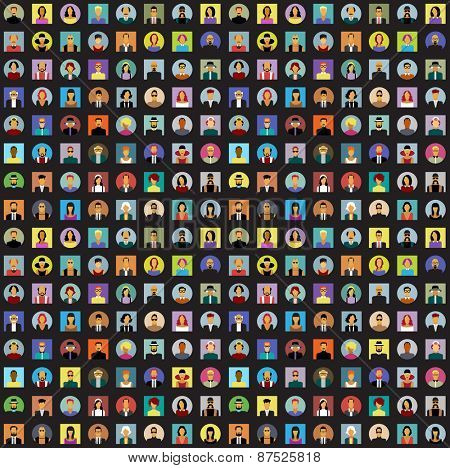 Set avatars people. Modern flat design icons. Background with icons of people. The file is saved in