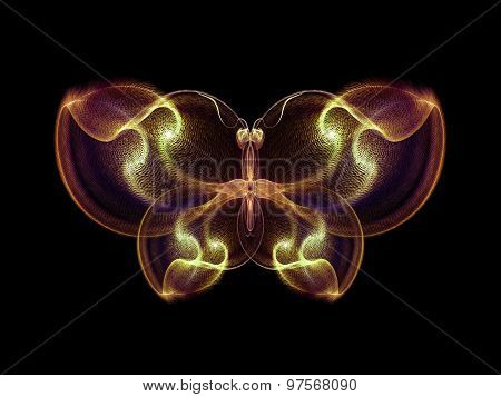 Never Were Butterflies series. Abstract arrangement of isolated butterfly patterns suitable as background for projects on science imagination creativity and design stock photo