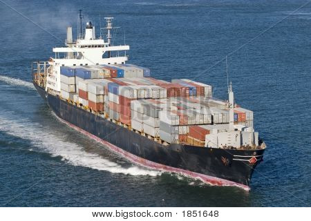 Ship with containers aerial view in San Francisco stock photo