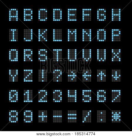 Scoreboard electronic digital signs, numbers and letters vector font. Digital abc for scoreboard, illustration of electronic digital alphabet