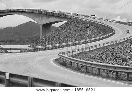 Norway. Atlantic ocean road. Bridge over the ocean. Travel europe. Horizontal stock photo