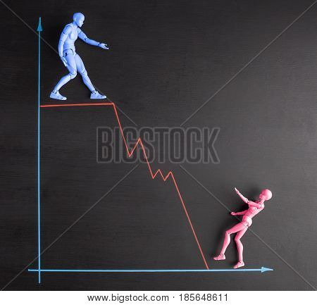 Wage gap and gender equality concept depicted with realistic male and female figurines and line graph stock photo