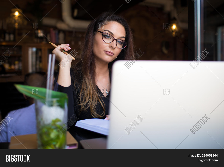 Woman Serious Professional Freelance Social Media Content Writer Having Online Training Course Via L