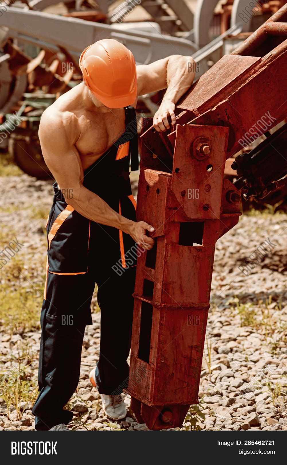 Repairman Concept. Skillful Repairman At Work. Repairman Fix Heavy Equipment. Machinery Repairman In