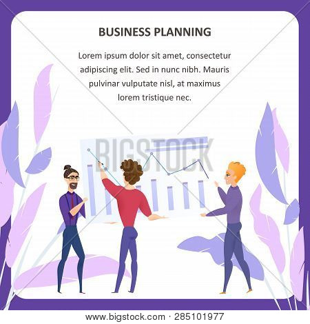 Business Planning Analysis Vector Tablet Banner. Businessman Character. Digital Marketing Kpi Template. Finance Analyse Technology Concept for Website or Landing Page. Flat Cartoon Illustration stock photo