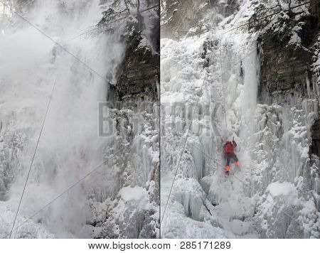 An avalanche is coming off, training of athletes on the frozen famous Manyavsky waterfall in Manyava - Ukraine, Carpathians before going to the Alps climbing expedition to the glaciers stock photo