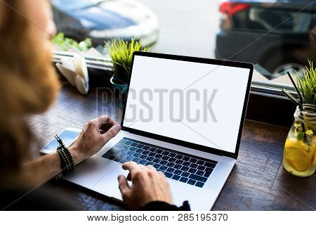 Closely Man Successful Distance Worker Using Laptop Computer With Empty Copy Space Screen Background