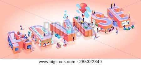 Financial Advise Account Typography Letter Banner. Professional Finance Analysis Business Advisor Character. Consultation Data Analyse Meeting Motivation Isometric 3d Vector Illustration stock photo