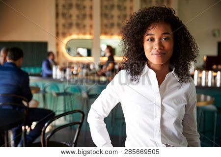 Female Manager Of Busy Cocktail Bar In Restaurant With Customers At Camera stock photo