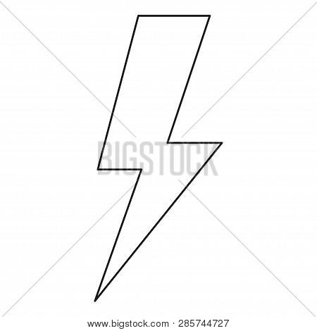 Line art black and white energy symbol. Power thunder. Electricity themed vector illustration for icon, stamp, label, certificate, brochure, gift card, poster, coupon or banner background decoration stock photo