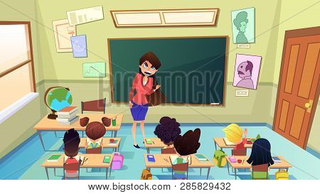 Angry Teacher Cartoon Vector. Stressed Young Woman Shouting On Pupils In Elementary School Classroom