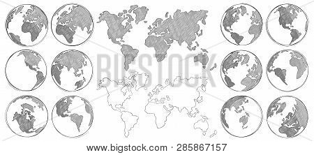 Sketch map. Hand drawn earth globe, drawing world maps and globes sketches isolated vector illustration stock photo