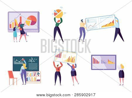 Different Character Business Analyst Set. People Make Chart and Analyzing Business Data. Flat Vector Cartoon Illustration Office Worker Working Infographic, Analysis Evolutionary Scale stock photo