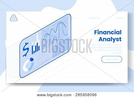 Digital isometric design concept set of 3d icons for financial analyst app.Isometric financial business analysis infographics,graphs,dollar icon,diagram on landing page banner web online concept stock photo