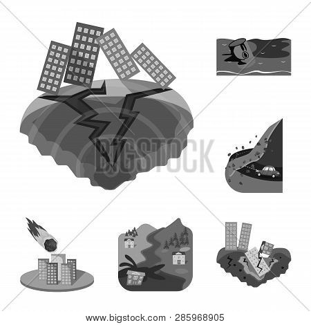 Vector illustration of nature and apocalypse  symbol. Set of nature and environment  vector icon for stock. stock photo