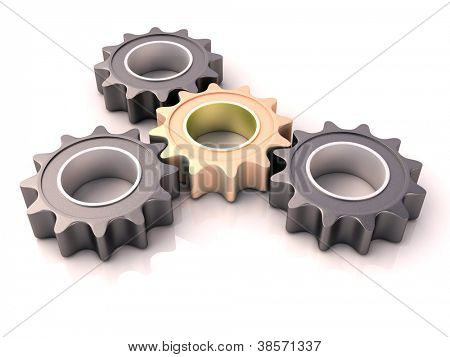 Pinion gear close-up on a white background stock photo