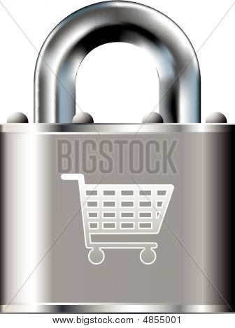 Secure shopping cart icon on stainless steel padlock vector button stock photo