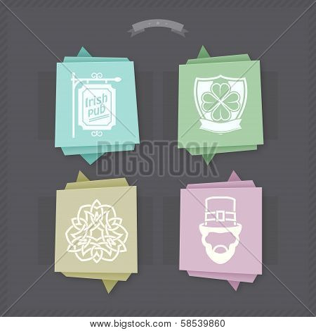 Celebrating irish St. Patric day concept included icons from left to right top to bottom:  Sign Board Clover shield Celtic tribal tattoo Leprechaun.  Origami like vector Icons set saved as EPS v.10 stock photo