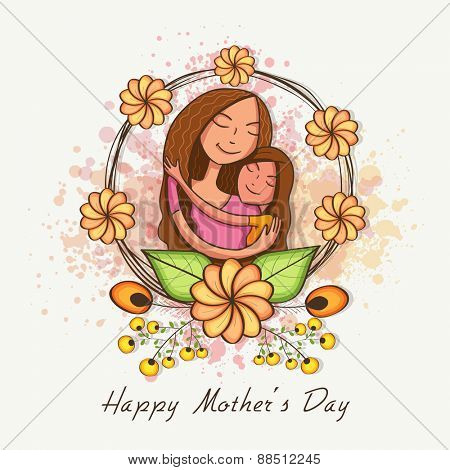 Happy cute mother with her daughter, hugging to each other on occasion of Happy Mother\'s Day, can be