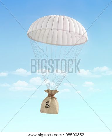 Concept Of Fast Money. Money For Help. Money Transfer. Money Bag Falling On The Parachute On A Sky B