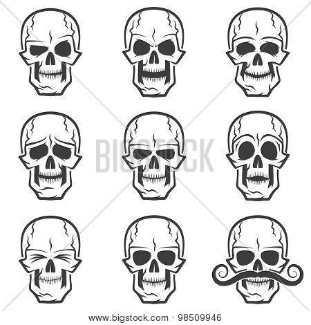 Skull emotions set