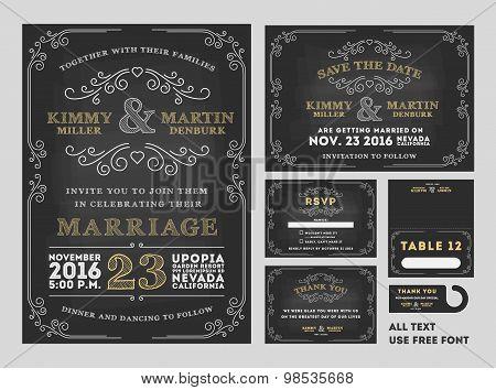 Vintage Chalkboard Wedding Invitations design sets