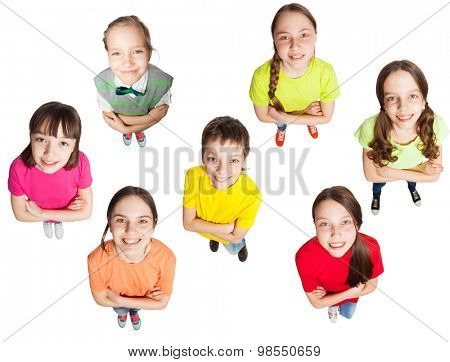 Happy group children isolated at white background. Smiling teen. Frendship boys and girls  stock photo