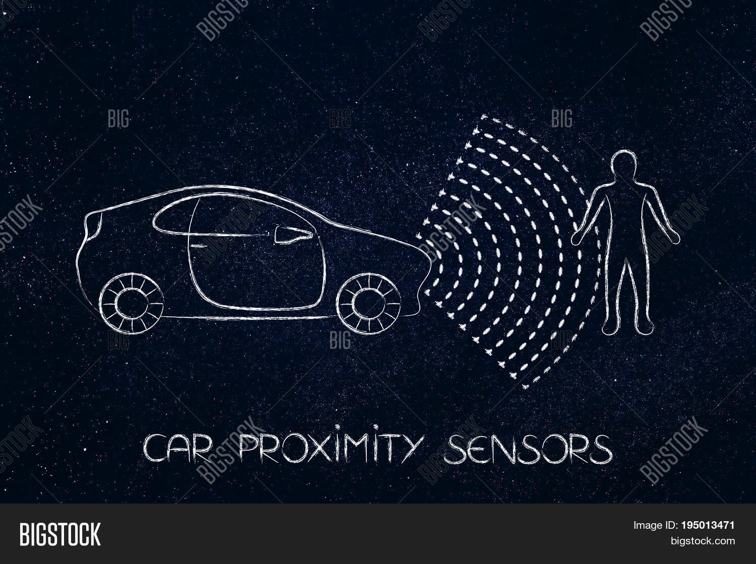 car proximity sensor concept: vehicle with rays detecting distance with a pedestrian for satey reasons