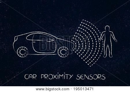 car proximity sensor concept: vehicle with rays detecting distance with a pedestrian for satey reasons stock photo